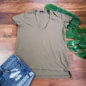 Zara W+B Collection Khaki Green Tee